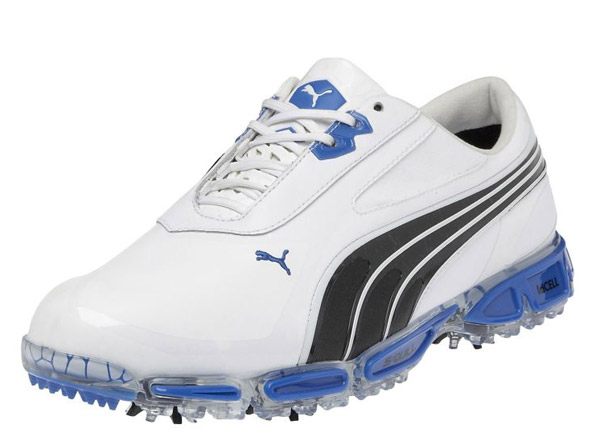 Puma AMP Cell Fusion Shoes in White/Black/Blue