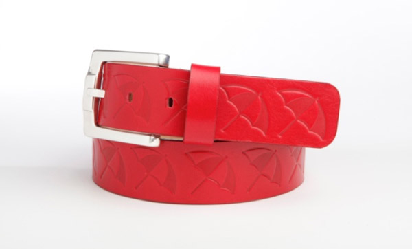Style 015008 features a repeating embossed logo on vegetable tanned leather, along with a chunky 40mm width buckle. Available in 5 colors. (MSRP $65)