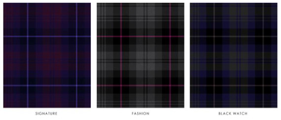 Some of the tartan palates used in the collection