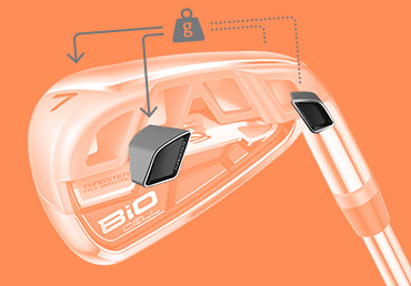 The tungsten insert is located in the heel and toe in the long and mid irons.