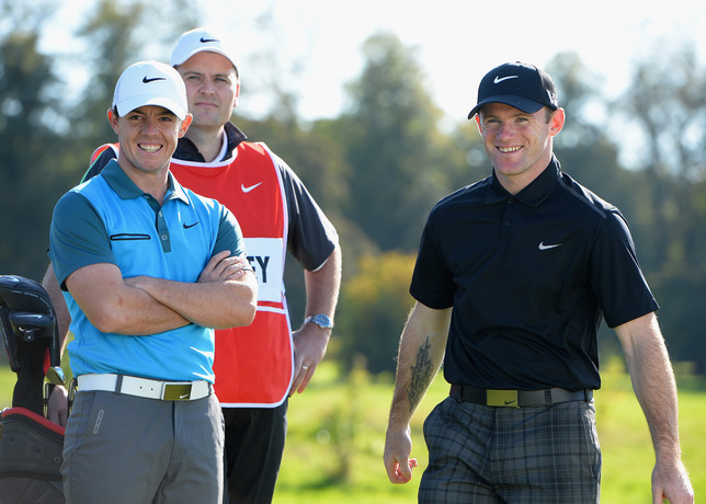 Rory McIlroy and Wayne Rooney play golf together