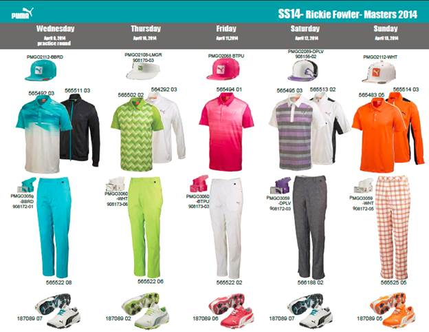 Rickie Fowler's apparel script for the 2014 Masters