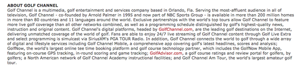 Golf Channel's Boilerplate.